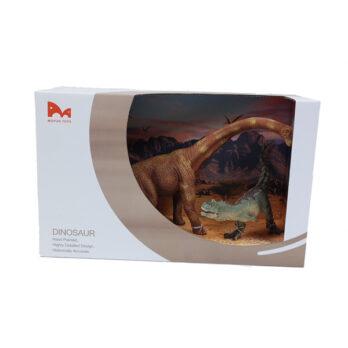 Brachiosaurus – T-Rex Set im Schaukarton